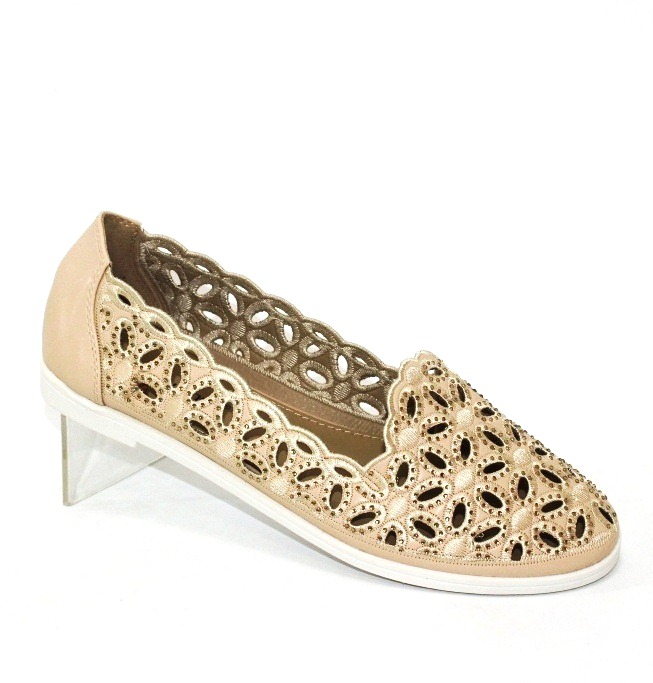 жіночі літні туфлі, бежеві літні балетки 81003