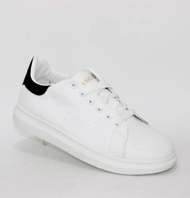 Белые мужские кроссовки с черном задником купить в Киеве