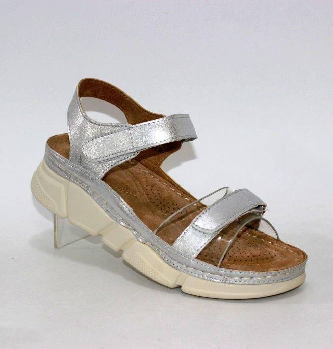 серебристые женские босоножки на липучках 35705-5-Silver купить в интернет магазине