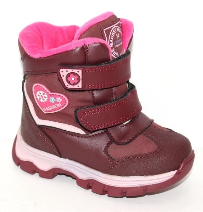 Детские зимние термоботинки для девочек в бордовом цвете