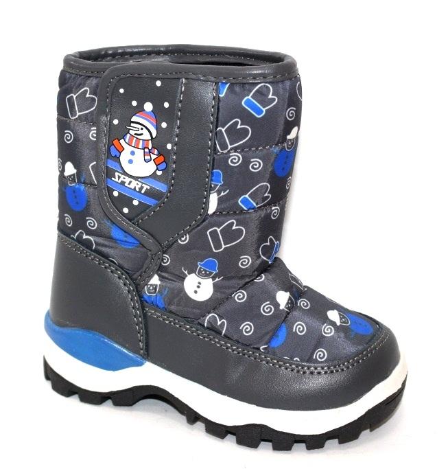 Детские зимние сапоги дутики для мальчиков со снеговиком
