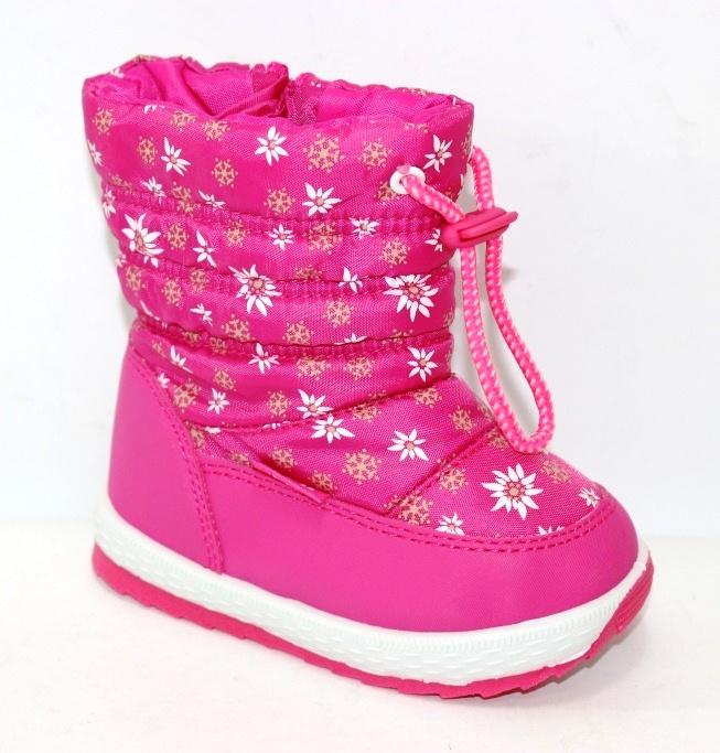 Зимние детские сапоги дутики для девочек на молнии