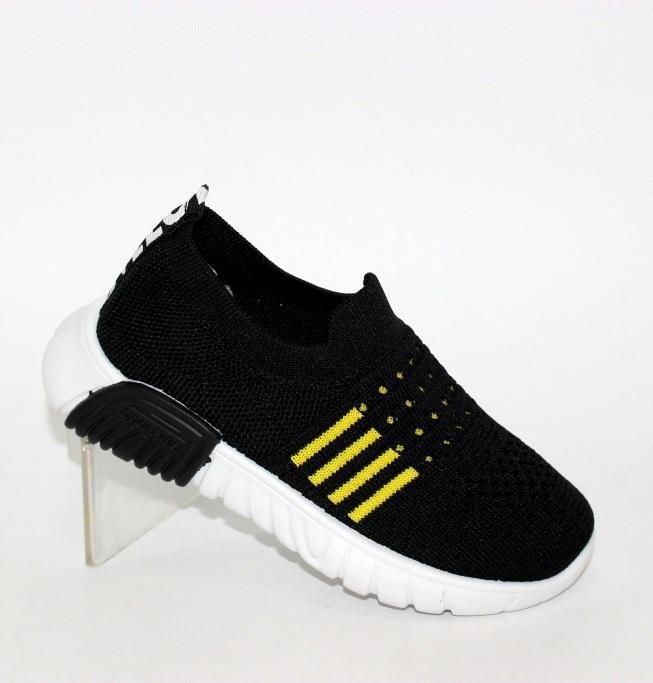 Купить чёрно-жёлтые детские трикотажные кроссовки-носки GA7-1 спортивная обувь для детей по доступным ценам в Украине