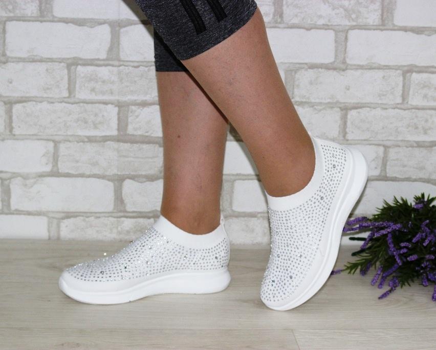 Текстильные летние белые кроссовки 111-260 в Киеве - купить в интернет магазине 2