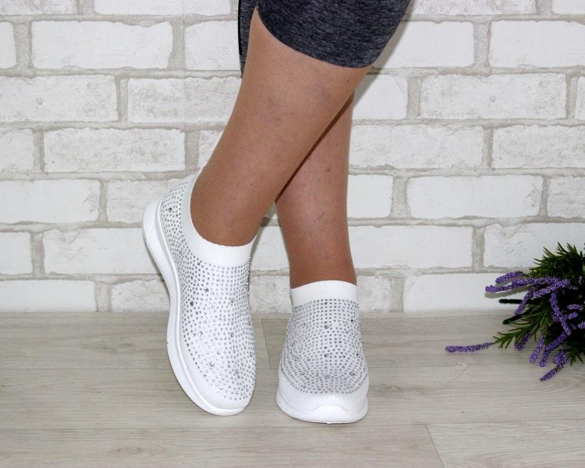 Текстильные летние белые кроссовки 111-260 в Киеве - купить в интернет магазине 3