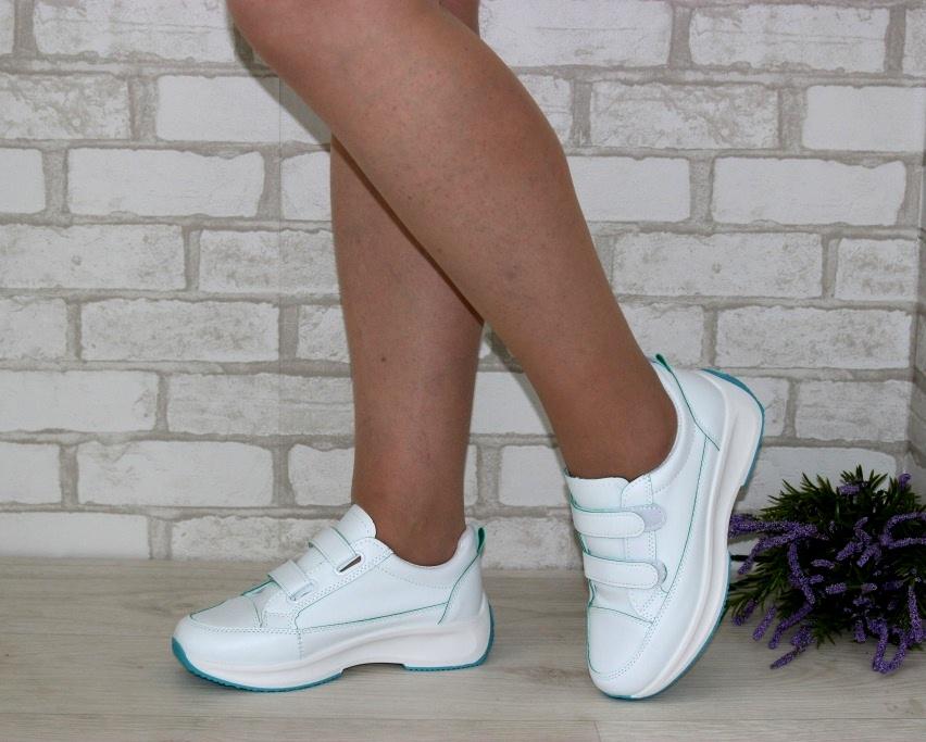 Белые женские кроссовки на липучках 8866-1 в Киеве - купить в интернет магазине 2