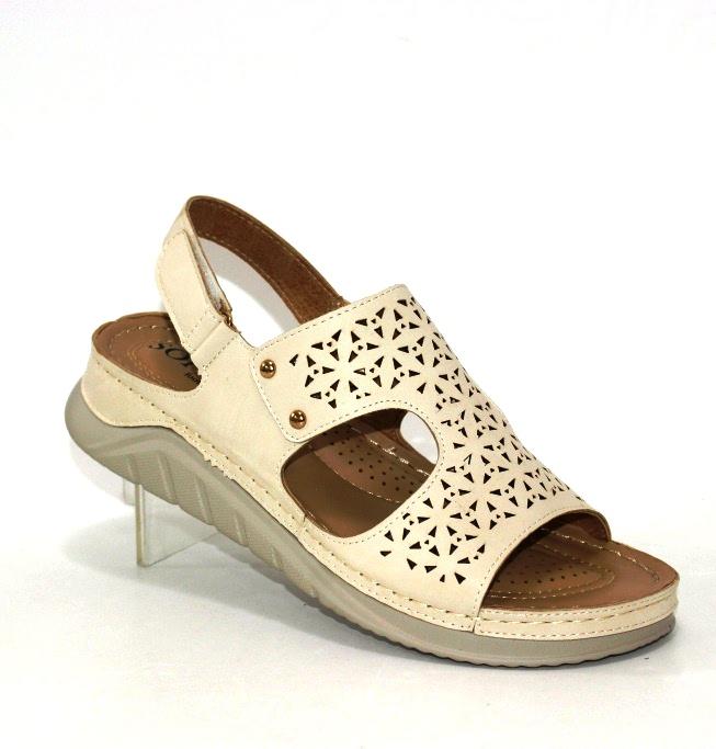 Женские бежевые босоножки комфорт 35546-6-beige купить в интернет магазине