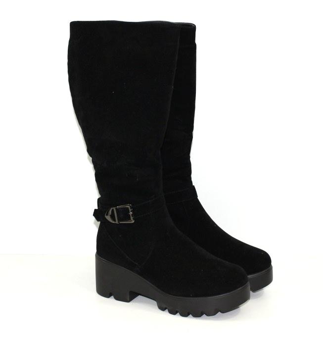 Женские зимние замшевые сапоги на среднем каблуке и толстой подошве