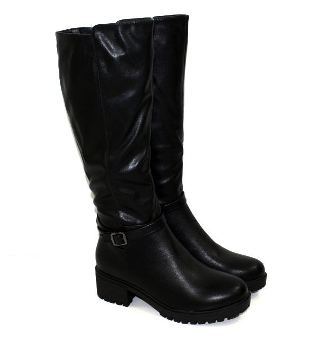 Женские зимние сапоги на среднем каблуке и толстой подошве