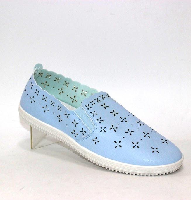женские голубые слипоны с перфорацией SD 527D в Киеве купить в интернет магазине Туфелёк