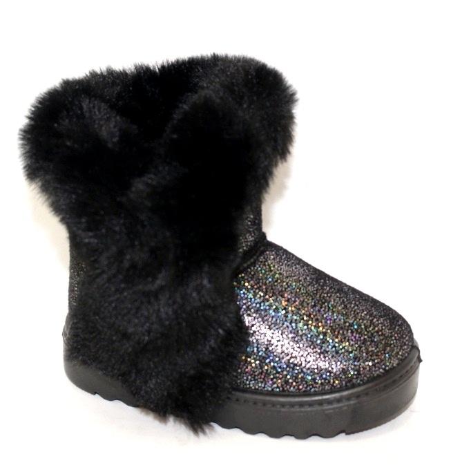 Чёрно изумрудные угги для девочек на зиму