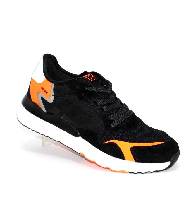 Купить недорого черные мужские кроссовки с оранжевыми вставками