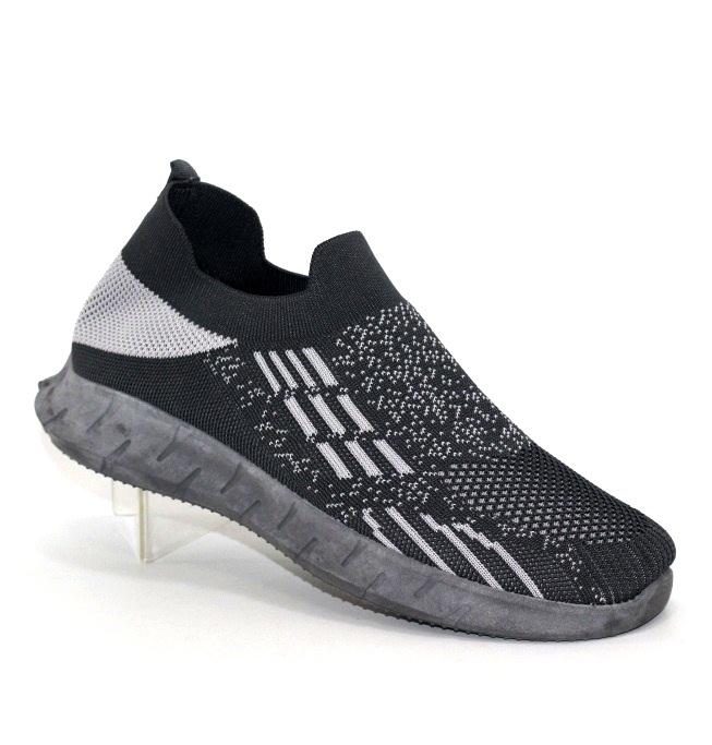 Мужские трикотажные кроссовки серого цвета