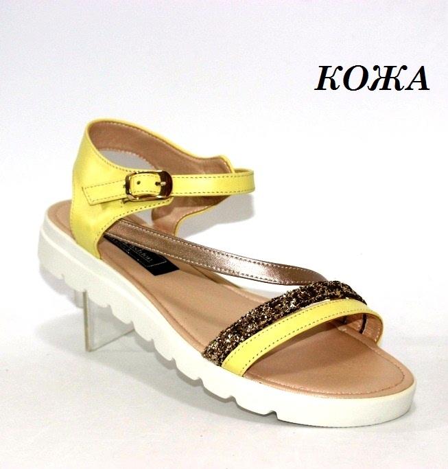 кожаные женские жёлтые босоножки 7566-ж купить в интернет магазине