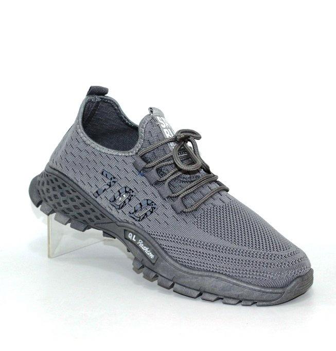 серые трикотажные мужские кроссовки QL22C - купить в интернет магазине по доступной цене в Украине
