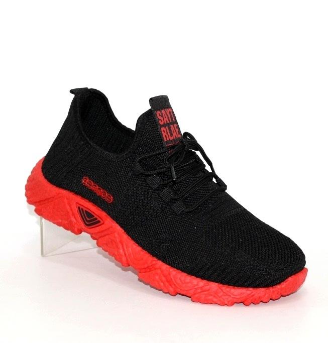 мужские чёрные кроссовки на красной подошве U301-10 - купить в интернет магазине по доступной цене в Украине