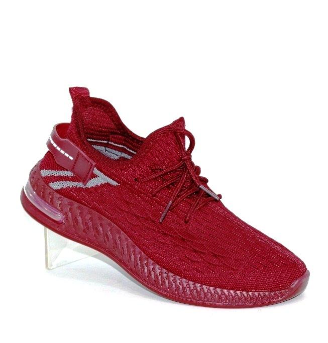 бордовые трикотажные кроссовки в стиле Изи C13-3 в Киеве - купить в интернет магазине