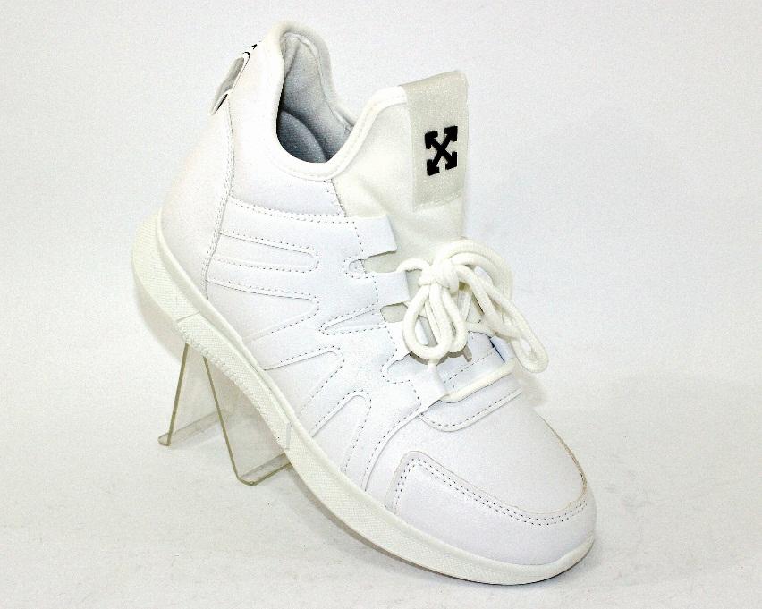 Высокие молодёжные белые кроссовки 55-161 в Киеве - купить в интернет магазине