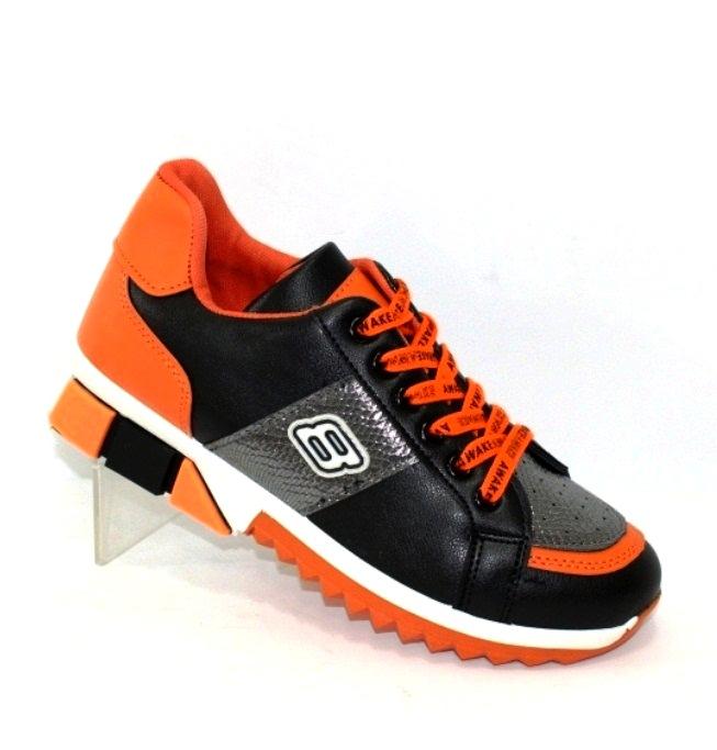 Кроссовки женские оранжевые черные с подошвой кубиками