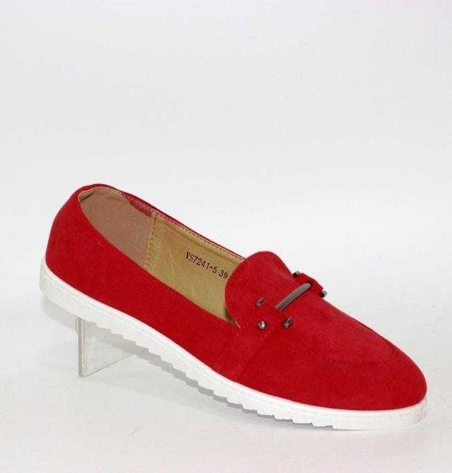 Мягкие красные женские туфли из эко замши