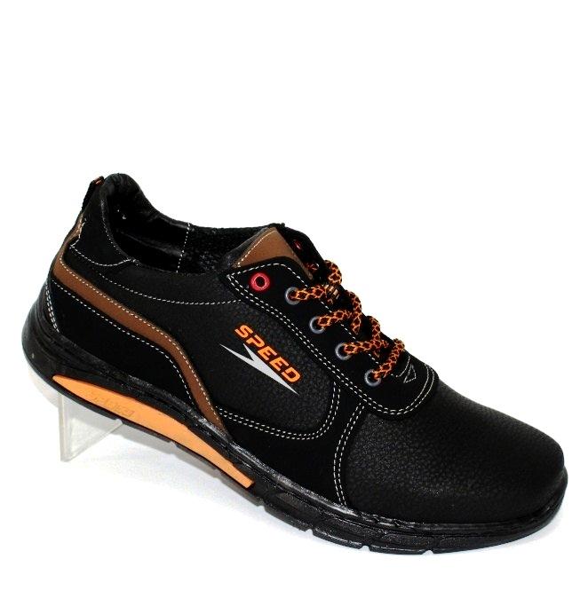 Чорні кросівки з помаранчевими вставками