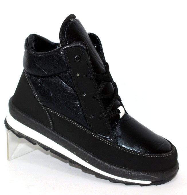 Женские дутые ботинки в чёрном цвете на шнурках