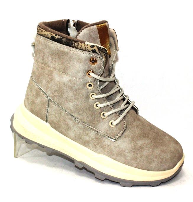 Женские зимние ботинки на шнурках и молнии