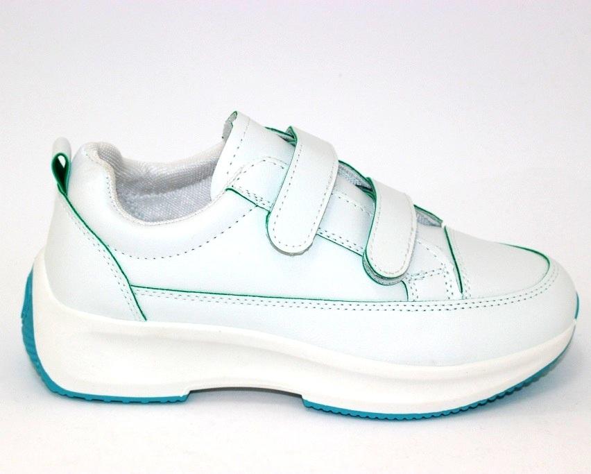 Белые женские кроссовки на липучках 8866-1 в Киеве - купить в интернет магазине 6