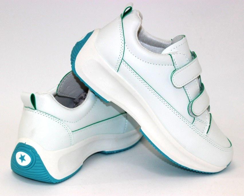 Белые женские кроссовки на липучках 8866-1 в Киеве - купить в интернет магазине 9