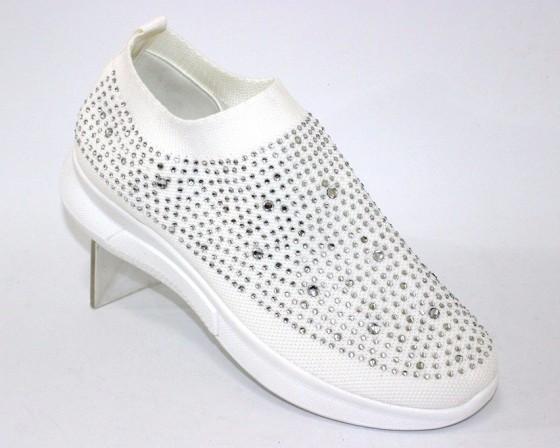 Текстильные летние белые кроссовки 111-260 в Киеве - купить в интернет магазине