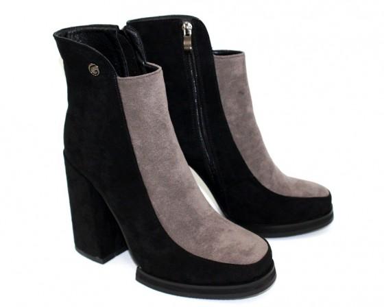 Замшевые ботильоны 384 Киев, купить демисезонные ботинки замш, осенняя женская обувь Украина