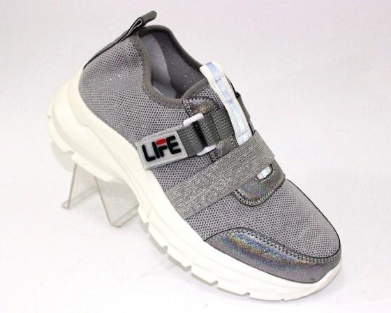 Серые трикотажные кроссовки на липучках 2301-3 в Киеве - купить в интернет магазине