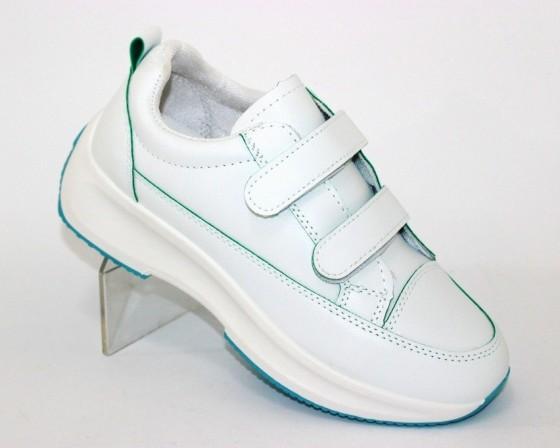 Белые женские кроссовки на липучках 8866-1 в Киеве - купить в интернет магазине