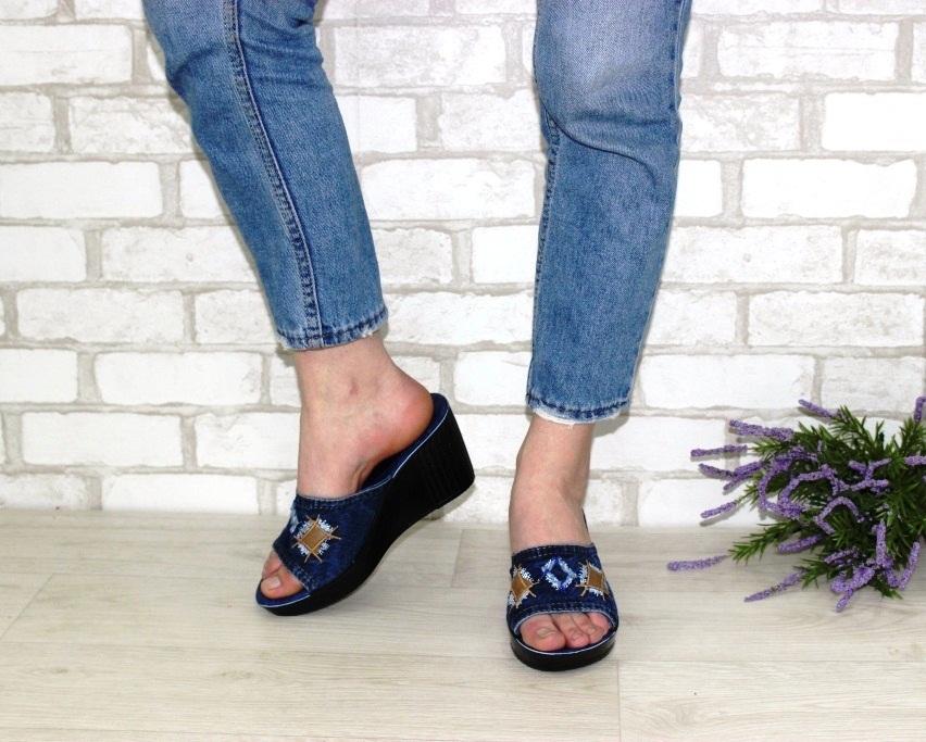 Джинсовые шлёпанцы недорого в Киеве, купить джинсовую летнюю обувь, женская летняя обувь Украина 3