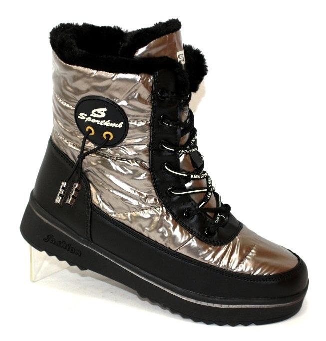Ботинки дутики зимние для женщин на шнурках и молнии