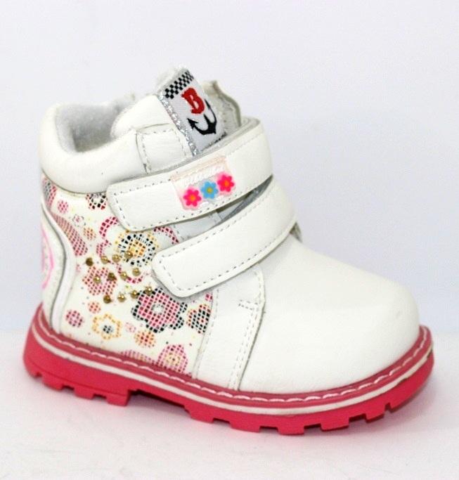 Білі зимові дитячі черевички для дівчаток з 2 двома липучками і блискавкою купити в інтернет магазині