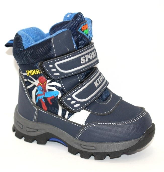 Термо ботинки детские для мальчиков с человеком пауком