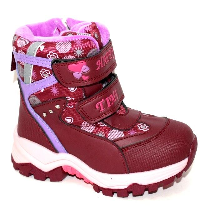 Бордовые детские зимние термо ботинки для девочек