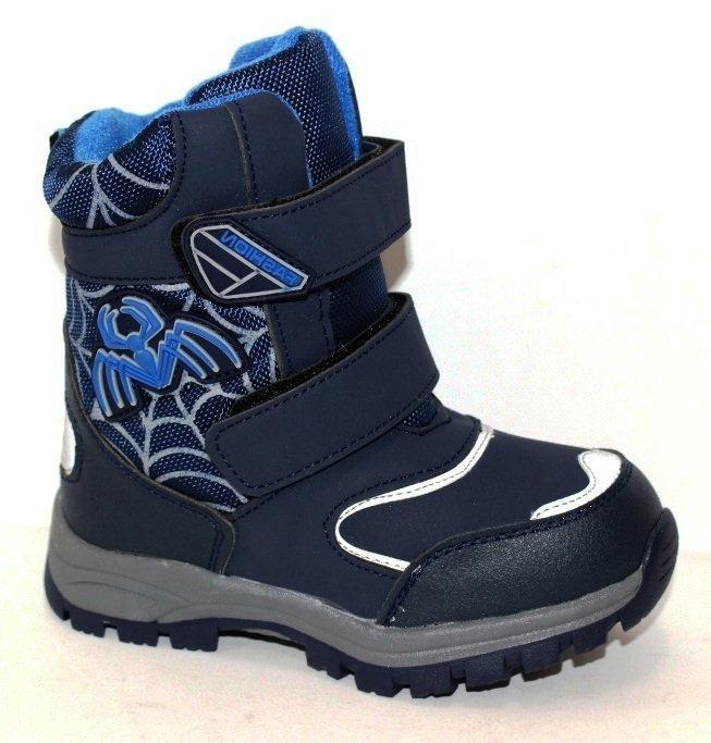 Детские зимние ботинки с пауком для мальчика размеры 26 27 28 29 30 31 32