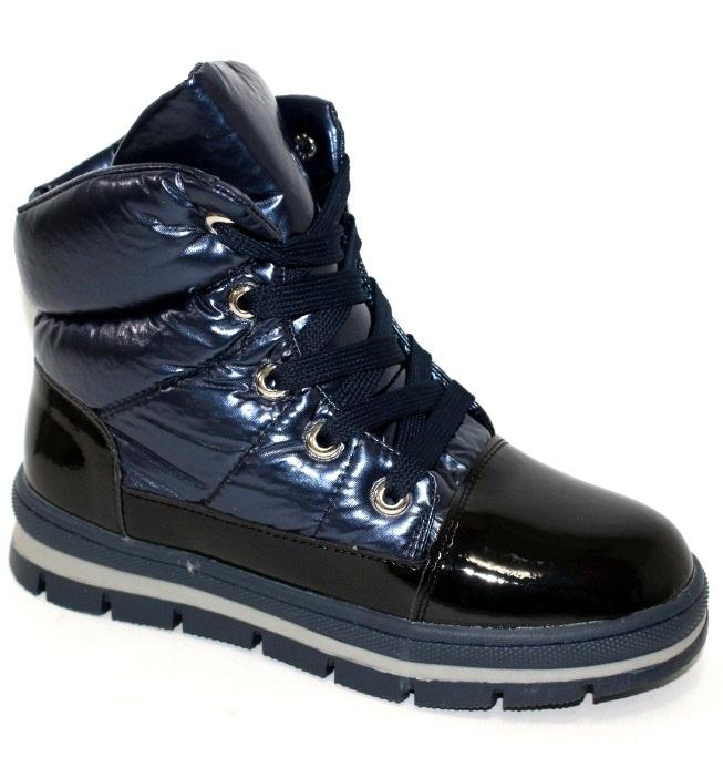 Синие невысокие ботинки дутики для девочек размеры 32 33 34 35 36 37